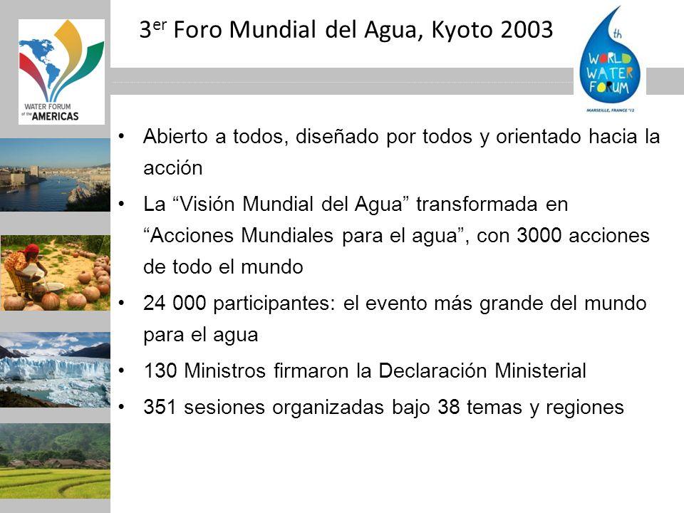 3 er Foro Mundial del Agua, Kyoto 2003 Abierto a todos, diseñado por todos y orientado hacia la acción La Visión Mundial del Agua transformada en Acci
