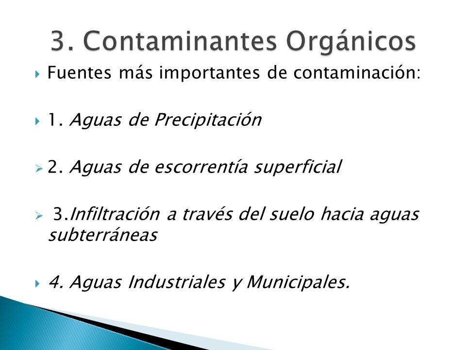 Fuentes más importantes de contaminación: 1. Aguas de Precipitación 2. Aguas de escorrentía superficial 3.Infiltración a través del suelo hacia aguas