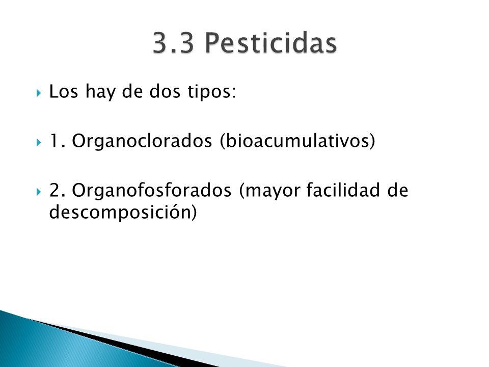 Los hay de dos tipos: 1. Organoclorados (bioacumulativos) 2. Organofosforados (mayor facilidad de descomposición)