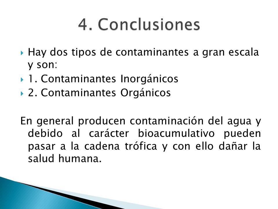 Hay dos tipos de contaminantes a gran escala y son: 1. Contaminantes Inorgánicos 2. Contaminantes Orgánicos En general producen contaminación del agua
