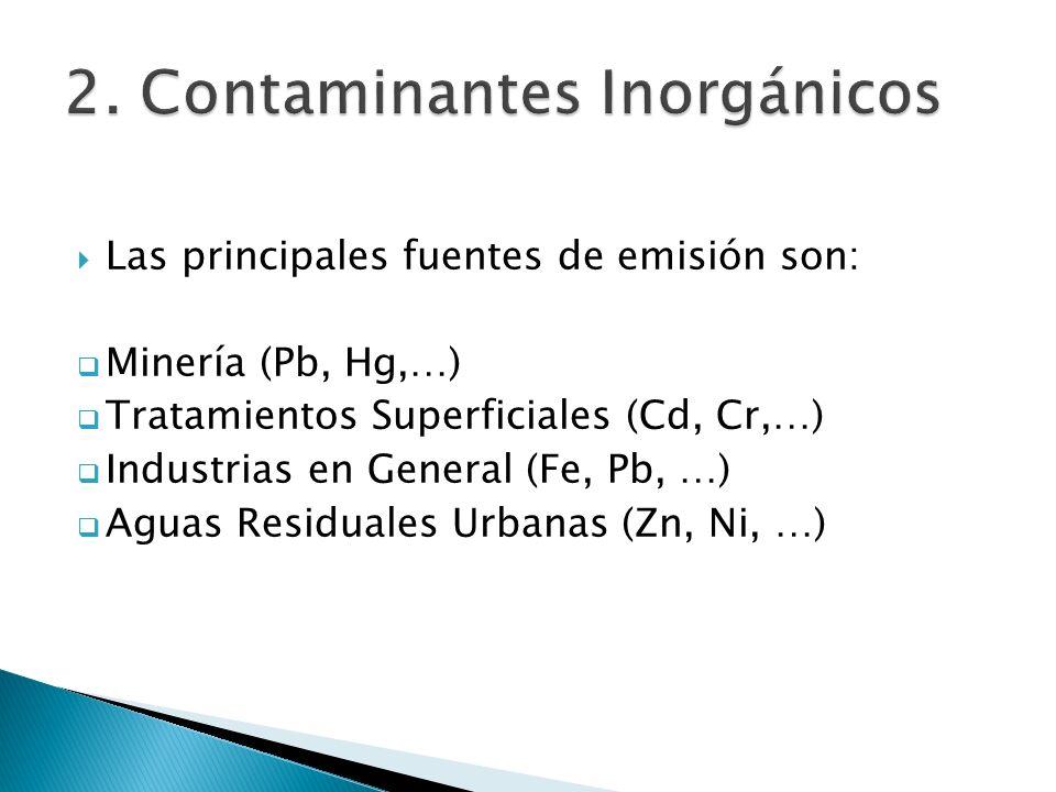 Las principales fuentes de emisión son: Minería (Pb, Hg,…) Tratamientos Superficiales (Cd, Cr,…) Industrias en General (Fe, Pb, …) Aguas Residuales Ur