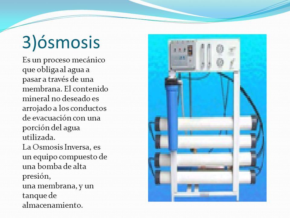 Desmineralización: El agua en la osmosis inversa entonces se desmineralizara (descalcificación y desalinización),se desgerminiza y se esteriliza con luz uv para evitar el desarrollo de hongos y algas en la solución.