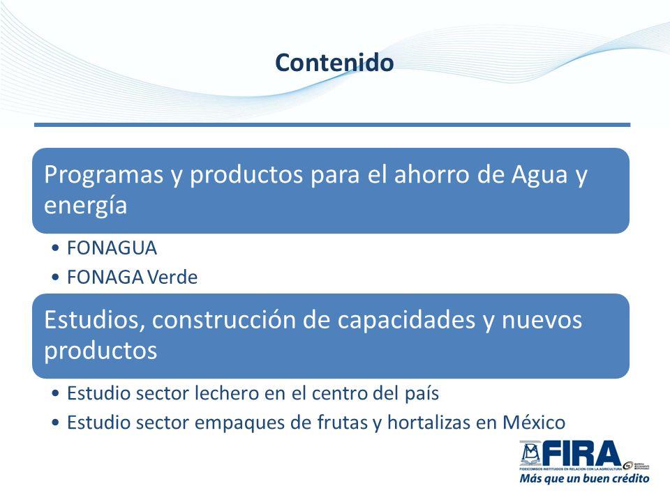 Contenido Programas y productos para el ahorro de Agua y energía FONAGUA FONAGA Verde Estudios, construcción de capacidades y nuevos productos Estudio sector lechero en el centro del país Estudio sector empaques de frutas y hortalizas en México