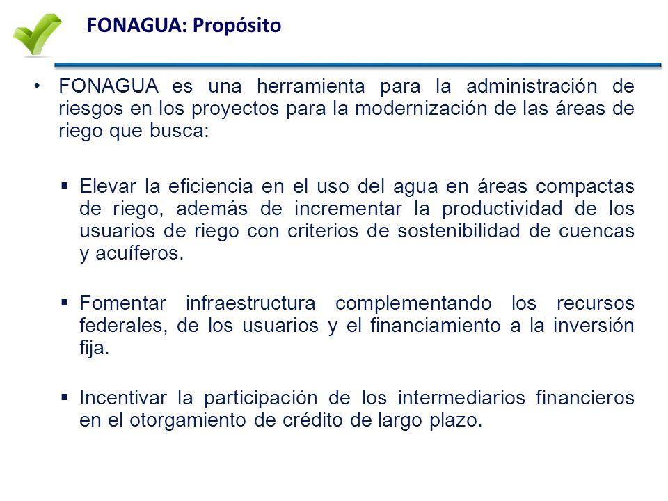 FONAGUA: Propósito FONAGUA es una herramienta para la administración de riesgos en los proyectos para la modernización de las áreas de riego que busca: Elevar la eficiencia en el uso del agua en áreas compactas de riego, además de incrementar la productividad de los usuarios de riego con criterios de sostenibilidad de cuencas y acuíferos.