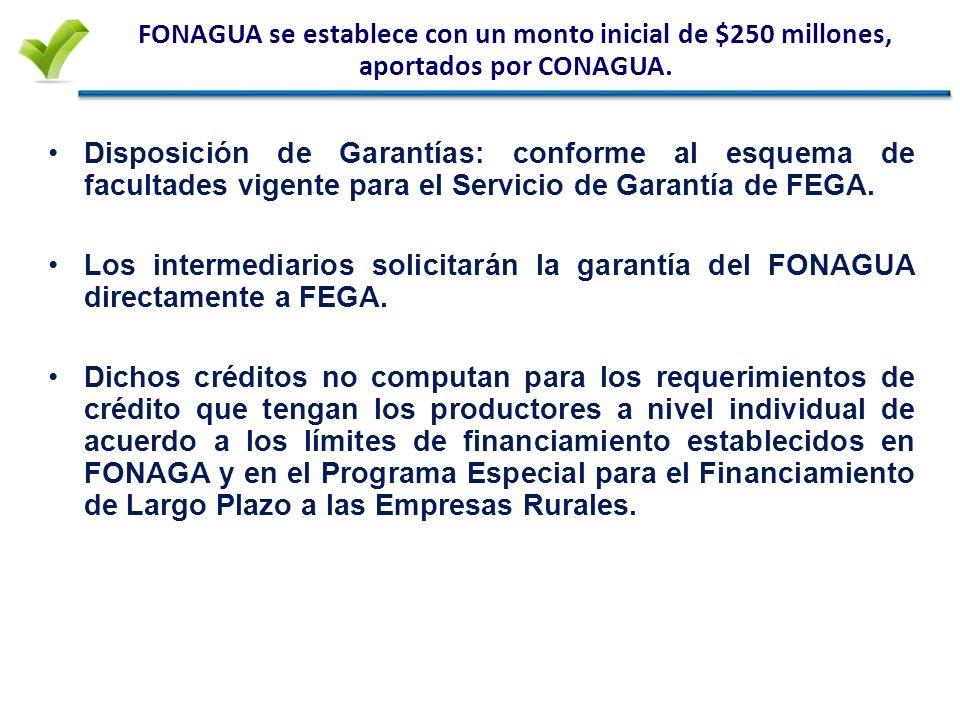 La Garantía FONAGUA incentiva a los Intermediarios en proyectos de largo plazo FONAGUA: Para infraestructura hidroagrícola Plazo hasta 20 años Sujetos de Crédito: Asociaciones de Usuarios