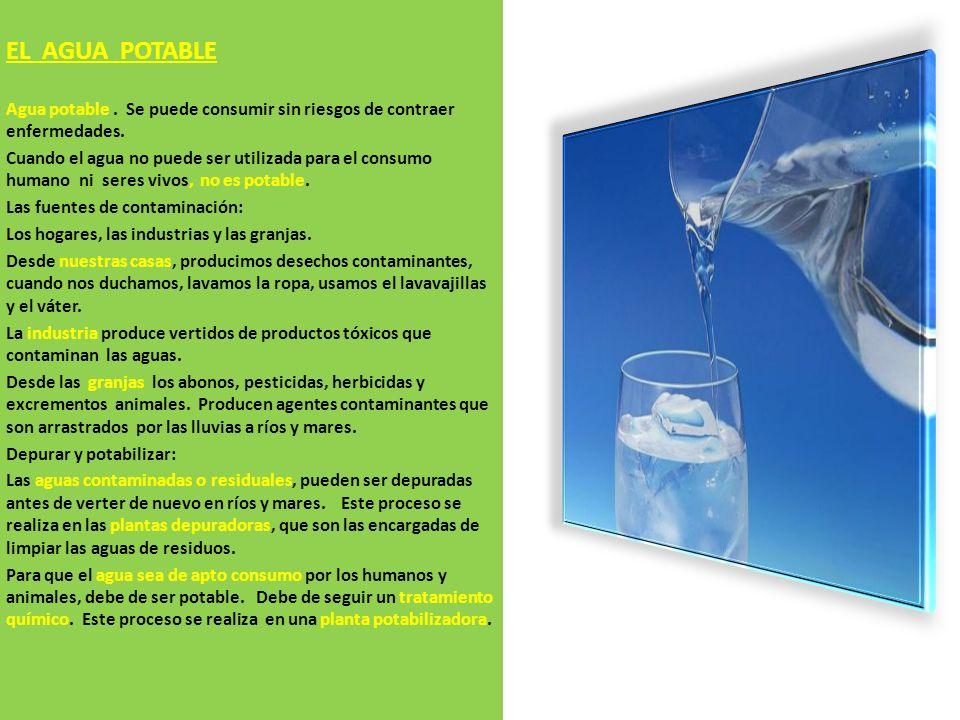 EL AGUA POTABLE Agua potable.Se puede consumir sin riesgos de contraer enfermedades.
