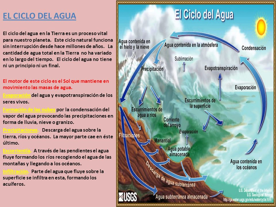 EL CICLO DEL AGUA El ciclo del agua en la Tierra es un proceso vital para nuestro planeta.