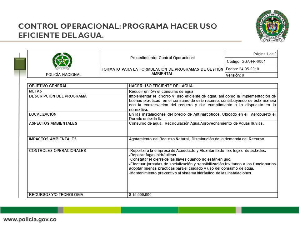 CONTROL OPERACIONAL: PROGRAMA HACER USO EFICIENTE DEL AGUA. POLICÍA NACIONAL Procedimiento: Control Operacional Página 1 de 3 Código: 2GA-FR-0001 FORM