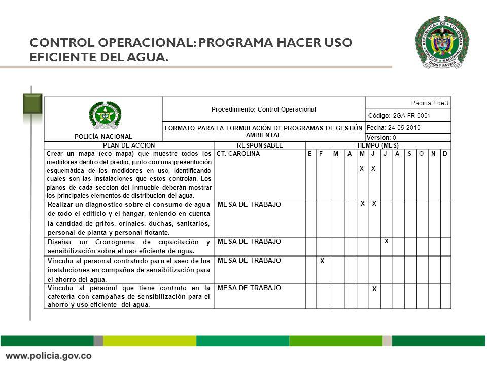 CONTROL OPERACIONAL: PROGRAMA HACER USO EFICIENTE DEL AGUA. POLICÍA NACIONAL Procedimiento: Control Operacional Página 2 de 3 Código: 2GA-FR-0001 FORM