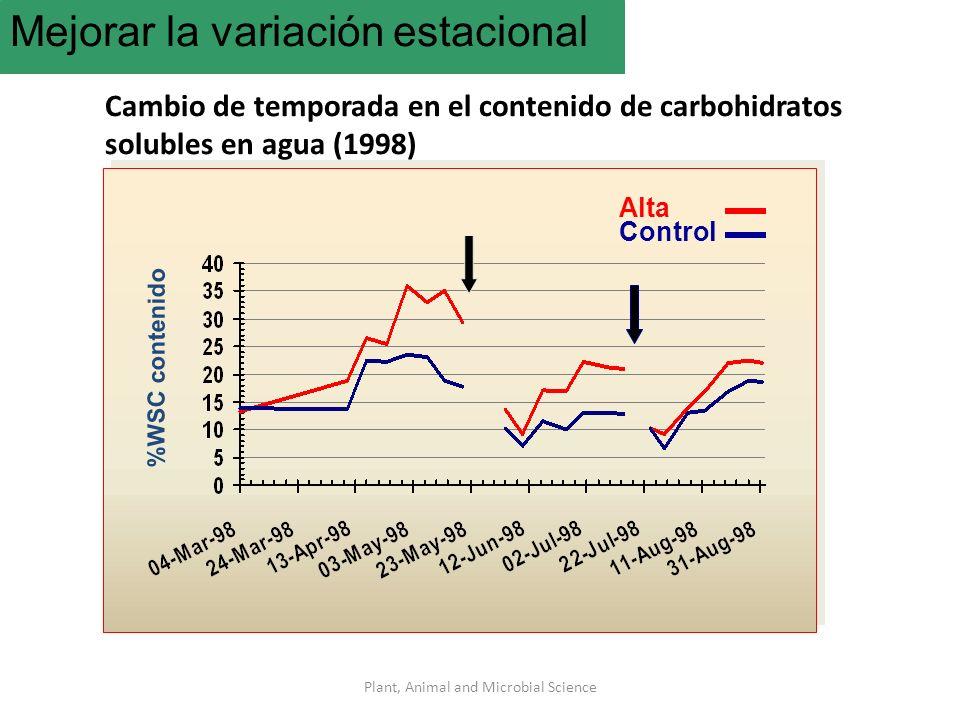 Plant, Animal and Microbial Science Mejorar la variación estacional Cambio de temporada en el contenido de carbohidratos solubles en agua (1998) %WSC contenido Alta Control