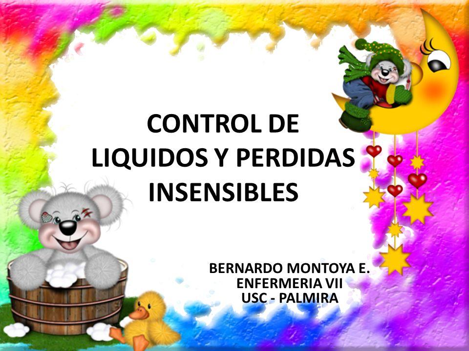 CONTROL DE LIQUIDOS Y PERDIDAS INSENSIBLES BERNARDO MONTOYA E. ENFERMERIA VII USC - PALMIRA
