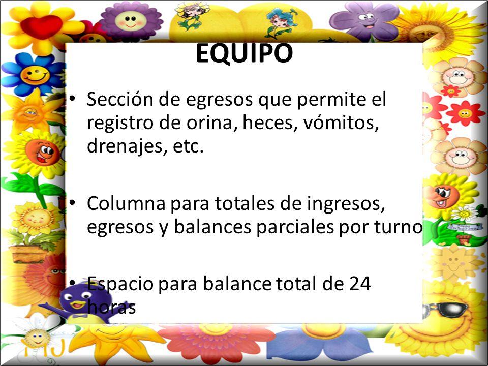 EQUIPO No olvidar el material necesario para un buen balance: Recipientes graduados para cuantificación de egresos.