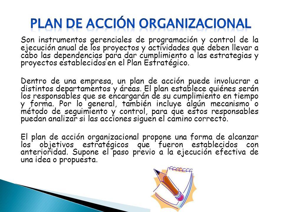 Son instrumentos gerenciales de programación y control de la ejecución anual de los proyectos y actividades que deben llevar a cabo las dependencias p
