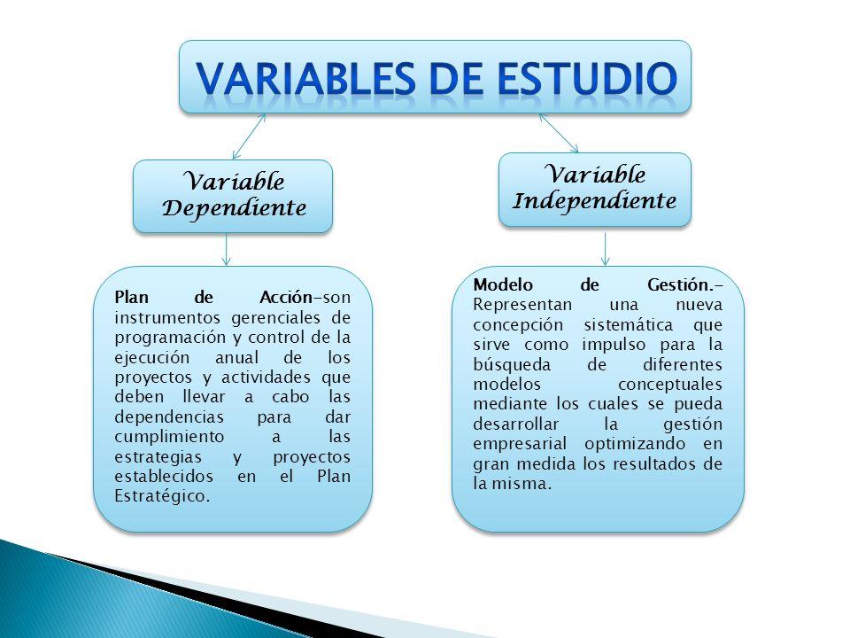 Variable Dependiente Variable Independiente Modelo de Gestión.- Representan una nueva concepción sistemática que sirve como impulso para la búsqueda d