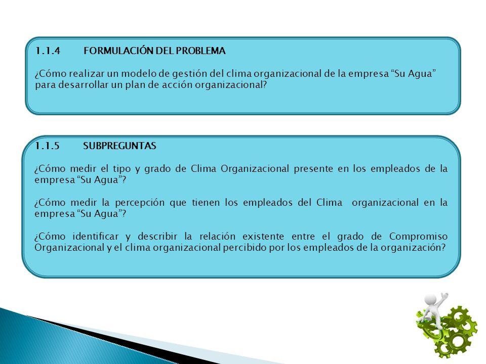 1.1.4FORMULACIÓN DEL PROBLEMA ¿Cómo realizar un modelo de gestión del clima organizacional de la empresa Su Agua para desarrollar un plan de acción or