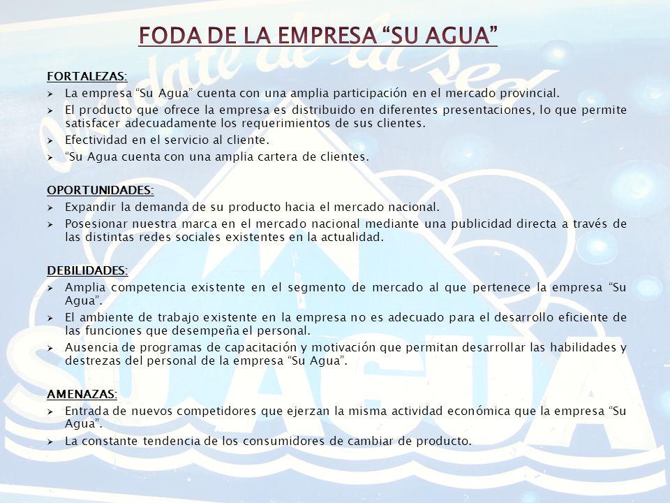 FORTALEZAS: La empresa Su Agua cuenta con una amplia participación en el mercado provincial. El producto que ofrece la empresa es distribuido en difer