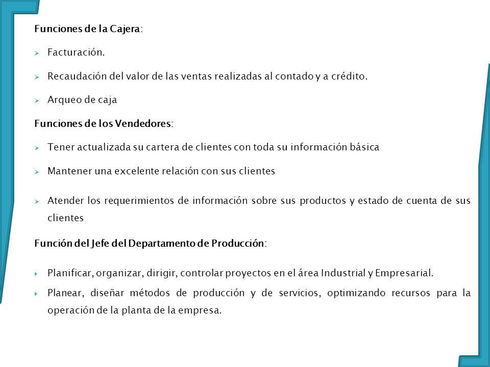 Funciones de la Cajera: Facturación. Recaudación del valor de las ventas realizadas al contado y a crédito. Arqueo de caja Funciones de los Vendedores