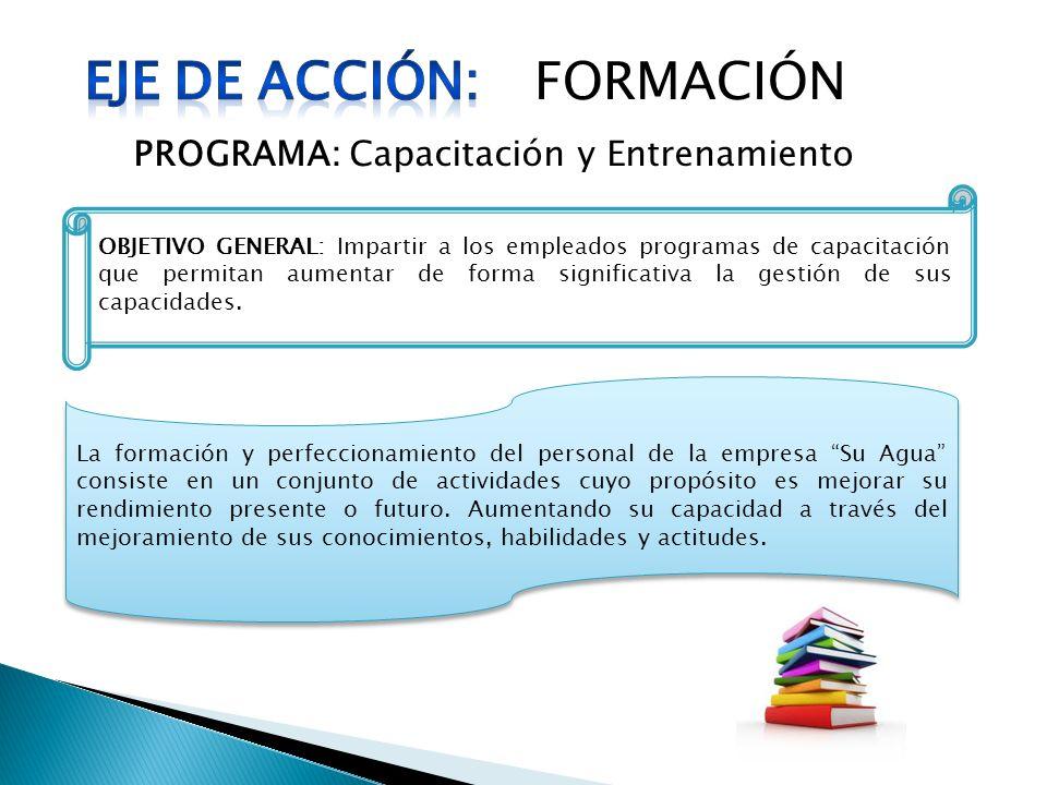 FORMACIÓN PROGRAMA: Capacitación y Entrenamiento OBJETIVO GENERAL: Impartir a los empleados programas de capacitación que permitan aumentar de forma s