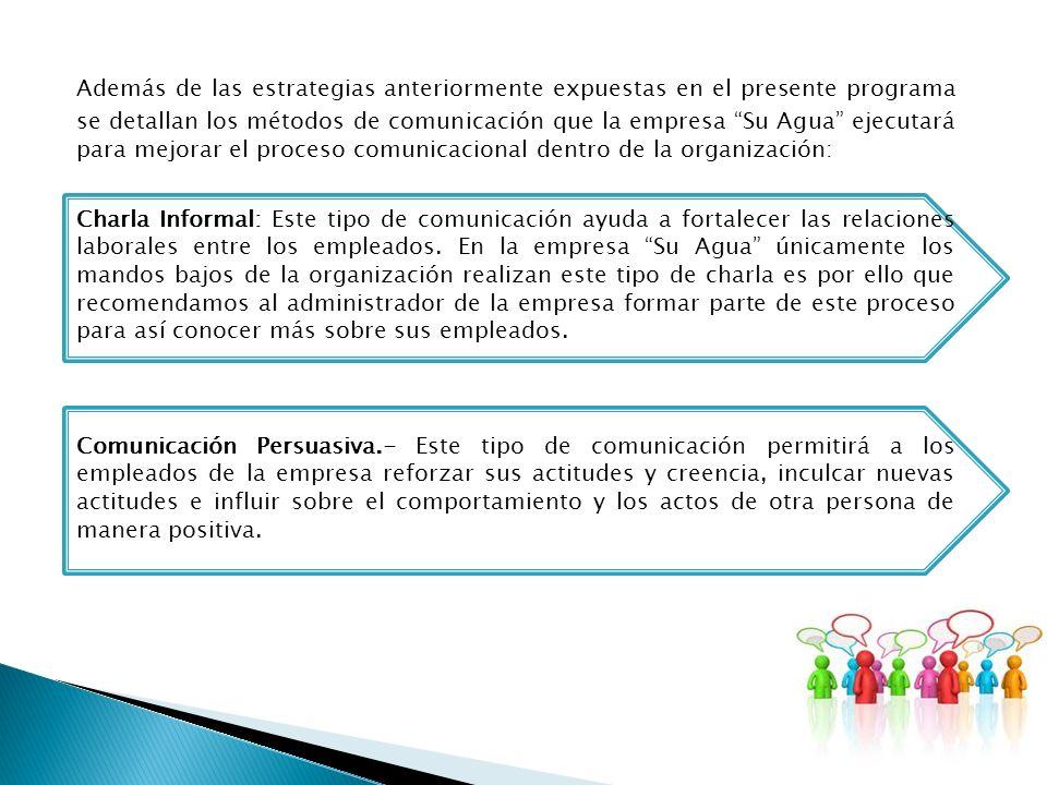 Además de las estrategias anteriormente expuestas en el presente programa se detallan los métodos de comunicación que la empresa Su Agua ejecutará par