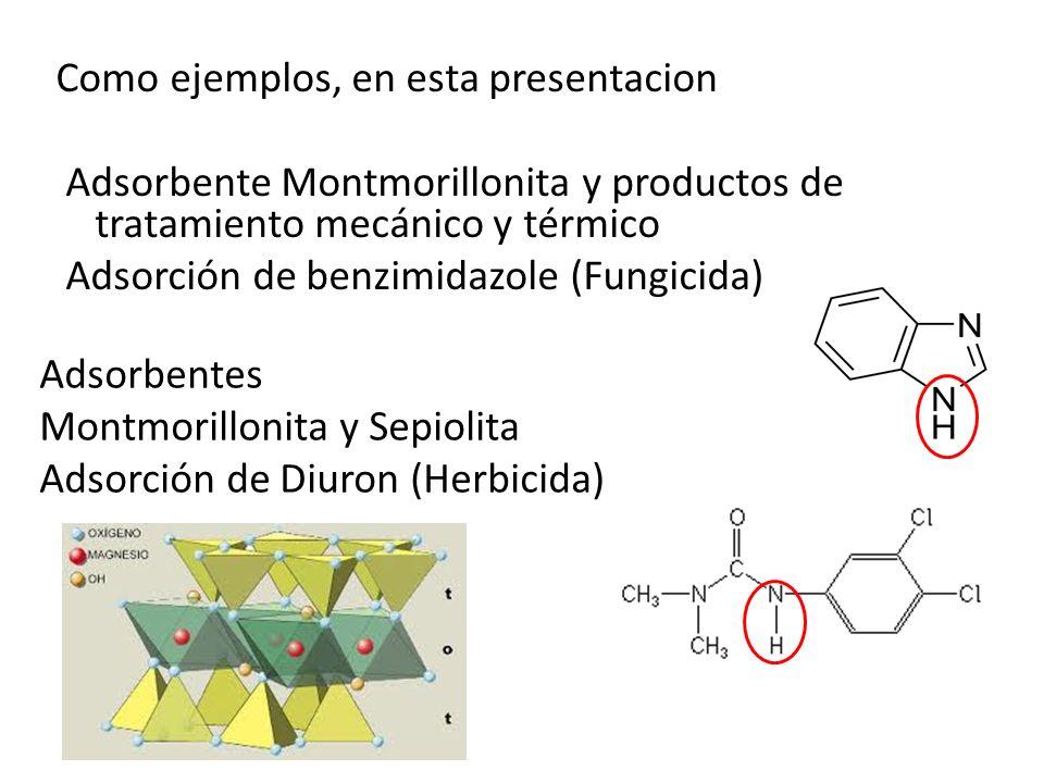 Como ejemplos, en esta presentacion Adsorbente Montmorillonita y productos de tratamiento mecánico y térmico Adsorción de benzimidazole (Fungicida) Ad