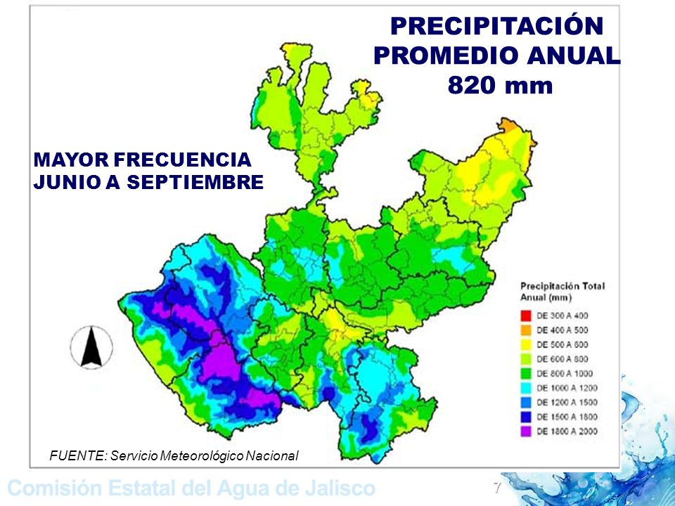 PRECIPITACIÓN PROMEDIO ANUAL 820 mm MAYOR FRECUENCIA JUNIO A SEPTIEMBRE FUENTE: Servicio Meteorológico Nacional 7