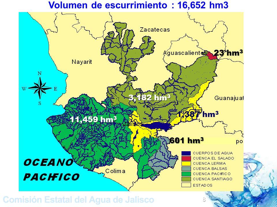 Volumen de escurrimiento : 16,652 hm3 11,459 hm 3 1,387 hm 3 3,182 hm 3 601 hm 3 23 hm 3 8