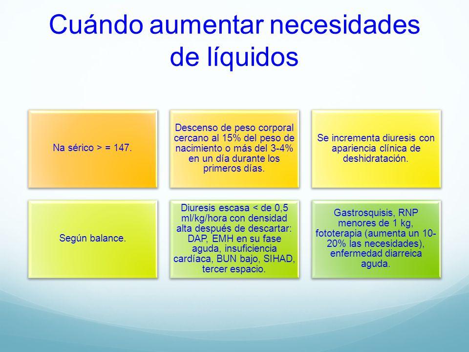 Cuándo aumentar necesidades de líquidos Na sérico > = 147. Descenso de peso corporal cercano al 15% del peso de nacimiento o más del 3-4% en un día du