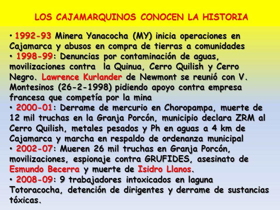 LOS CAJAMARQUINOS CONOCEN LA HISTORIA 1992-93 Minera Yanacocha (MY) inicia operaciones en Cajamarca y abusos en compra de tierras a comunidades 1998-9