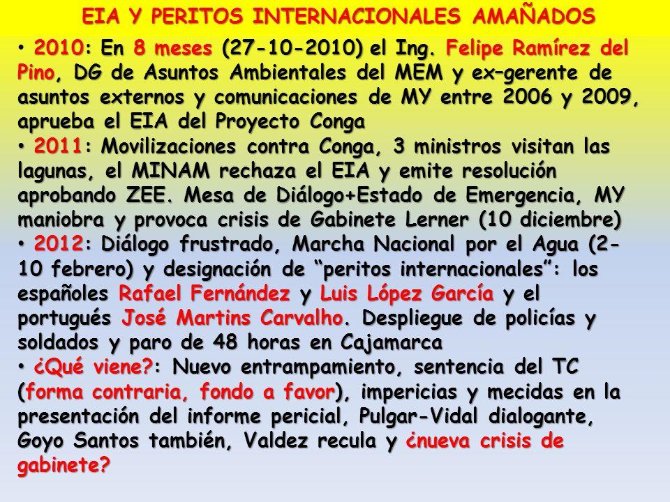 EIA Y PERITOS INTERNACIONALES AMAÑADOS 2010: En 8 meses (27-10-2010) el Ing. Felipe Ramírez del Pino, DG de Asuntos Ambientales del MEM y ex–gerente d
