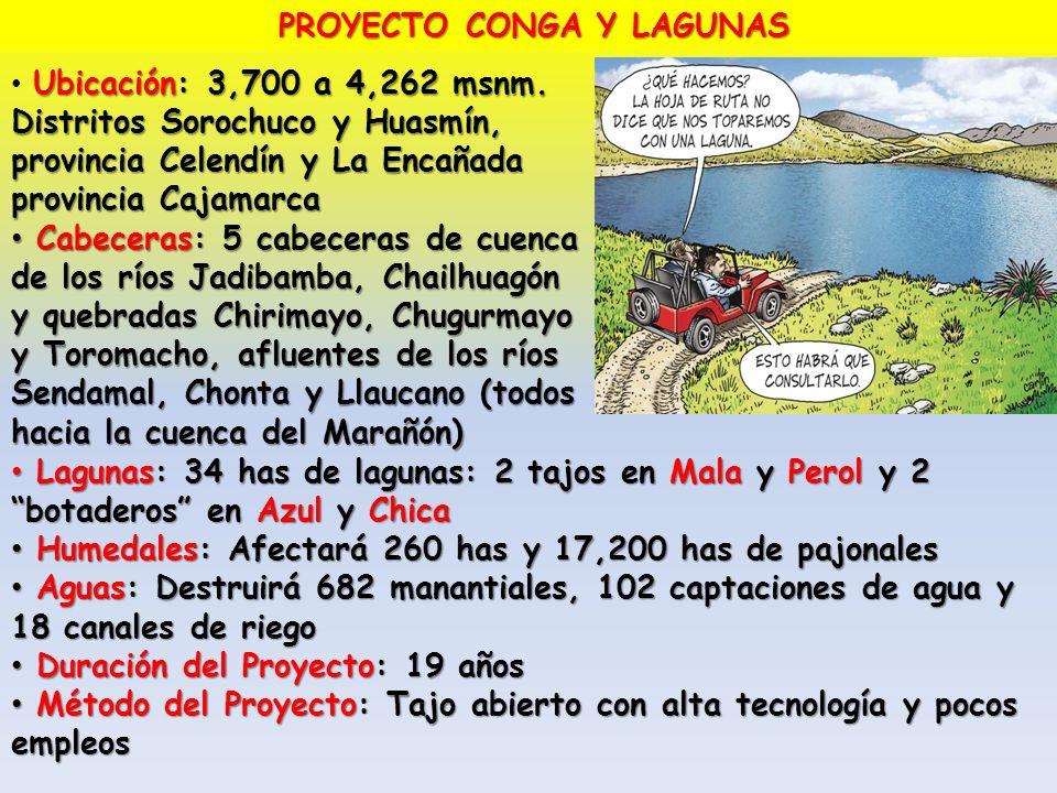 PROYECTO CONGA Y LAGUNAS Ubicación: 3,700 a 4,262 msnm. Distritos Sorochuco y Huasmín, provincia Celendín y La Encañada provincia Cajamarca Cabeceras: