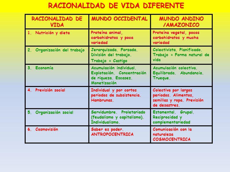 RACIONALIDAD DE VIDA MUNDO OCCIDENTAL MUNDO ANDINO /AMAZONICO 1. Nutrición y dieta Proteína animal, carbohidratos y poca variedad Proteína vegetal, po