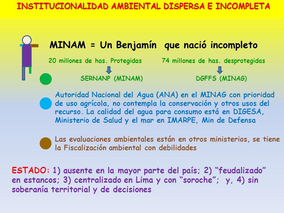 MINAM = Un Benjamín que nació incompleto 20 millones de has. Protegidas 74 millones de has. desprotegidas SERNANP (MINAM)DGFFS (MINAG) Autoridad Nacio