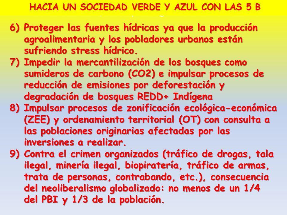 6)Proteger las fuentes hídricas ya que la producción agroalimentaria y los pobladores urbanos están sufriendo stress hídrico. 7)Impedir la mercantiliz