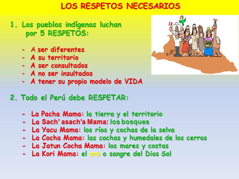 LOS RESPETOS NECESARIOS 1.Los pueblos indígenas luchan por 5 RESPETOS: por 5 RESPETOS: - A ser diferentes - A su territorio - A ser consultados - A no