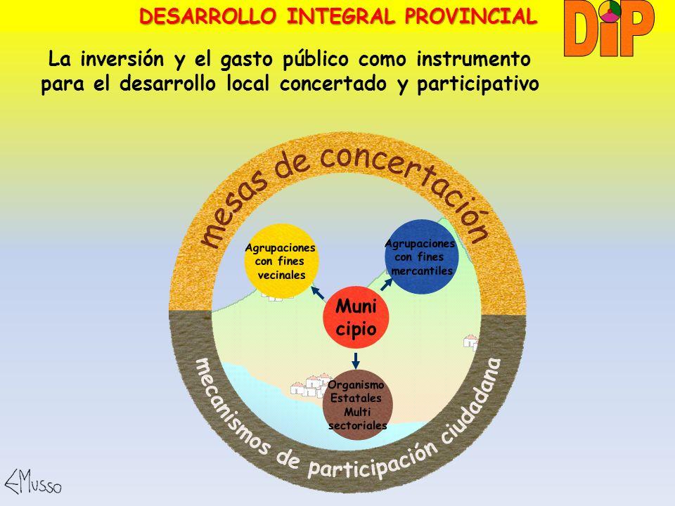 La inversión y el gasto público como instrumento para el desarrollo local concertado y participativo DESARROLLO INTEGRAL PROVINCIAL Agrupaciones con f