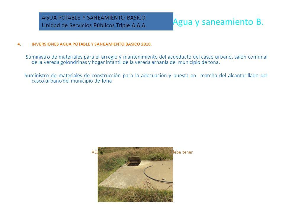 Agua y saneamiento B. 4.INVERSIONES AGUA POTABLE Y SANEAMIENTO BASICO 2010.