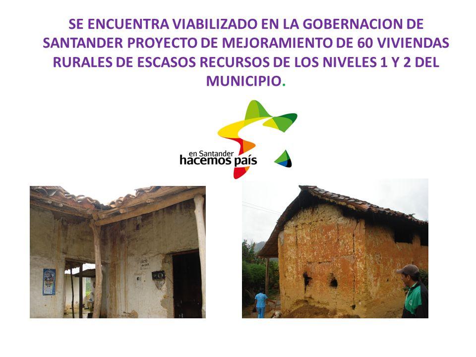 SE ENCUENTRA VIABILIZADO EN LA GOBERNACION DE SANTANDER PROYECTO DE MEJORAMIENTO DE 60 VIVIENDAS RURALES DE ESCASOS RECURSOS DE LOS NIVELES 1 Y 2 DEL MUNICIPIO.