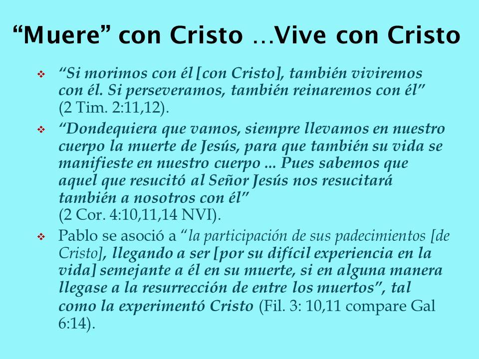 Si morimos con él [con Cristo], también viviremos con él. Si perseveramos, también reinaremos con él (2 Tim. 2:11,12). Dondequiera que vamos, siempre