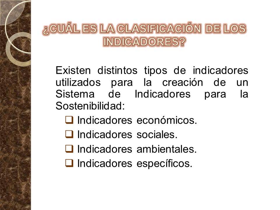 Existen distintos tipos de indicadores utilizados para la creación de un Sistema de Indicadores para la Sostenibilidad: Indicadores económicos. Indica