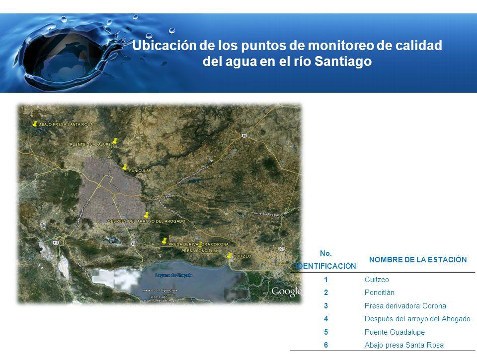 Ubicación de los puntos de monitoreo de calidad del agua en el río Santiago No. IDENTIFICACIÓN NOMBRE DE LA ESTACIÓN 1Cuitzeo 2Poncitlán 3Presa deriva