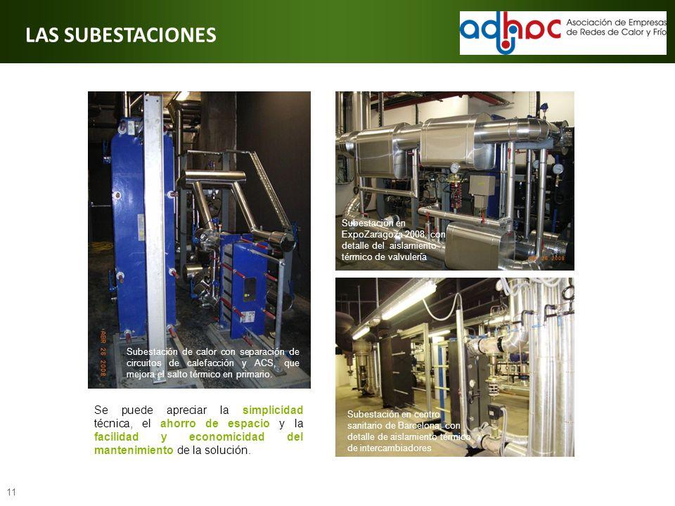 11 Subestación en ExpoZaragoza 2008, con detalle del aislamiento térmico de valvulería Subestación de calor con separación de circuitos de calefacción