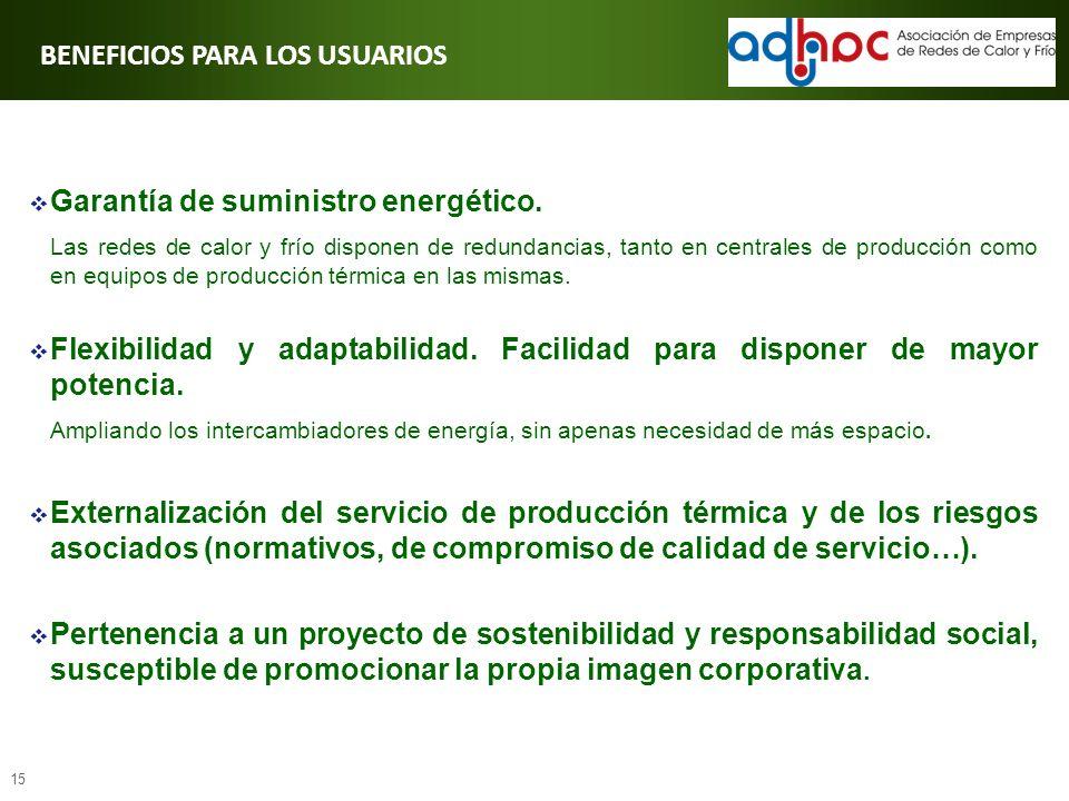 15 BENEFICIOS PARA LOS USUARIOS Garantía de suministro energético. Las redes de calor y frío disponen de redundancias, tanto en centrales de producció
