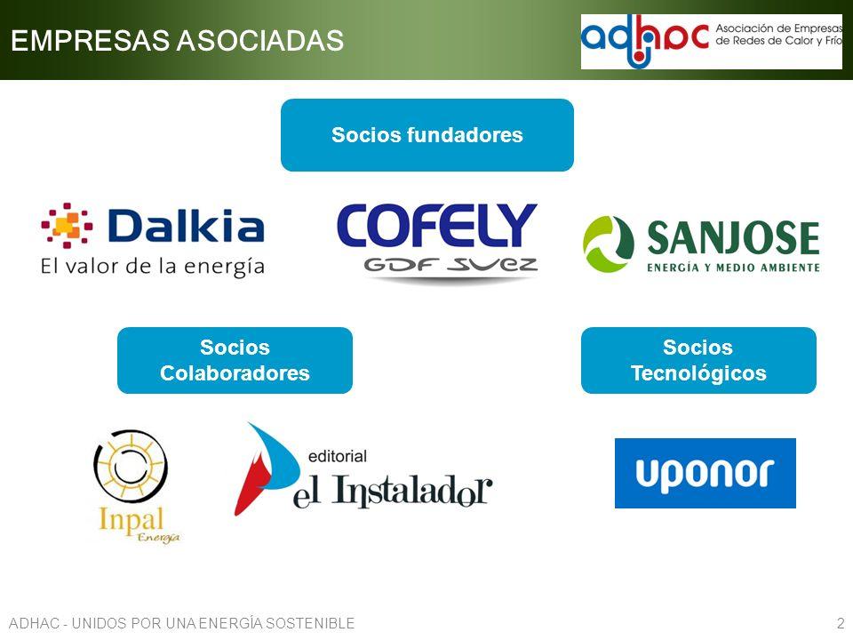 EMPRESAS ASOCIADAS Socios fundadores 2ADHAC - UNIDOS POR UNA ENERGÍA SOSTENIBLE Socios Tecnológicos Socios Colaboradores