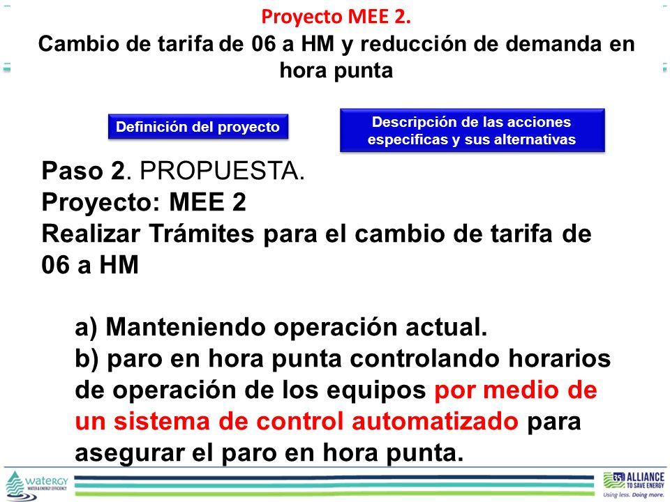Paso 2. PROPUESTA. Proyecto: MEE 2 Realizar Trámites para el cambio de tarifa de 06 a HM a) Manteniendo operación actual. b) paro en hora punta contro
