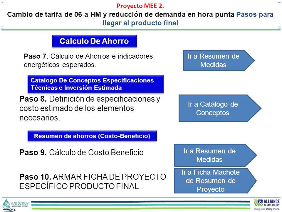 Paso 9. Cálculo de Costo Beneficio Ir a Resumen de Medidas Paso 8. Definición de especificaciones y costo estimado de los elementos necesarios. Ir a C