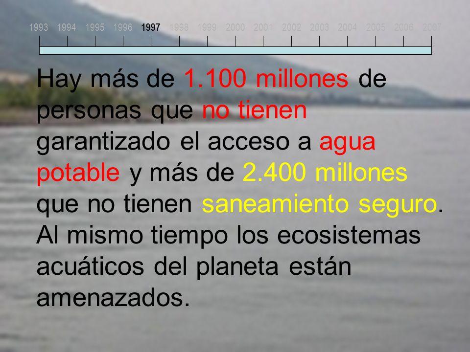 Hay más de 1.100 millones de personas que no tienen garantizado el acceso a agua potable y más de 2.400 millones que no tienen saneamiento seguro.
