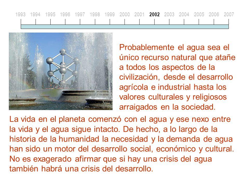 Probablemente el agua sea el único recurso natural que atañe a todos los aspectos de la civilización, desde el desarrollo agrícola e industrial hasta los valores culturales y religiosos arraigados en la sociedad.