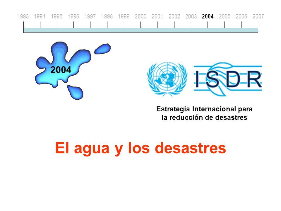 El agua y los desastres 19931994199519961997199819992000200120022003 2004 200520062007 2004 Estrategia Internacional para la reducción de desastres