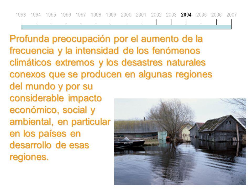 Profunda preocupación por el aumento de la frecuencia y la intensidad de los fenómenos climáticos extremos y los desastres naturales conexos que se producen en algunas regiones 19931994199519961997199819992000200120022003 2004 200520062007 del mundo y por su considerable impacto económico, social y ambiental, en particular en los países en desarrollo de esas regiones.