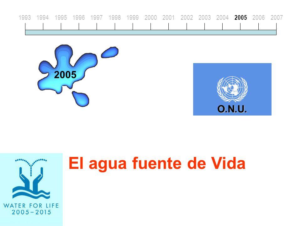 El agua fuente de Vida 199319941995199619971998199920002001200220032004 2005 20062007 2005 O.N.U.